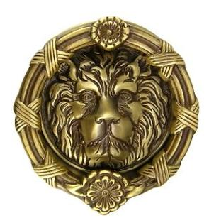 Antique Brass Ribbon and Reed Lion Door Knocker