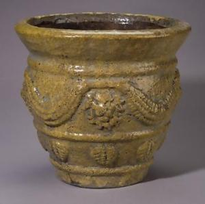 14 1/2 Inch Porcelain Amber Crackle Planter