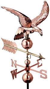 53 Inch Tall Copper Eagle Weathervane in a Polished Copper Finish