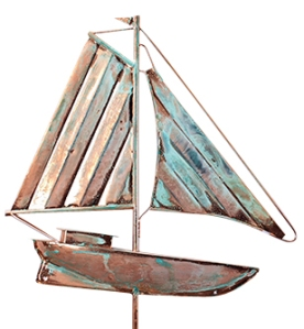 53 Inch Tall Copper Sailboat Weathervane  in a Weathered Copper Finish